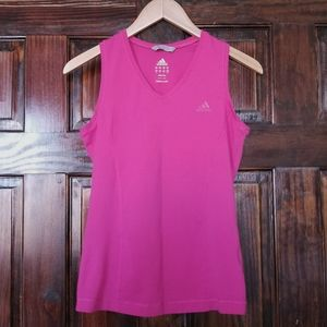 Adidas bright pink athletic muscle tank